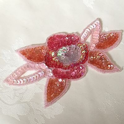 Pink Sequinned Rose Shaped Iron On Appliqué 18cm #434