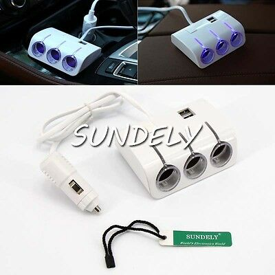 UK Triple 3Way Car Cigarette Lighter Adapter Power Socket Splitter Charger White