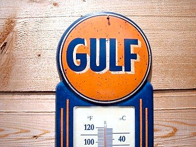 Large 15 Gulf NO NOX Gasoline and Oil Vintage Style Thermometer Sign Gas Service