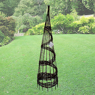 1.5M Willow Obelisk Climbing Plant Support Natural Woven Spiral Twist 5Ft Tall