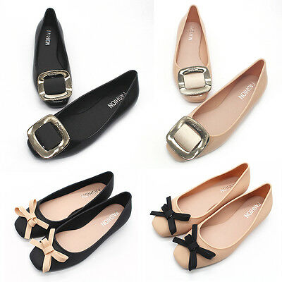 Womens Bowknot Square Toe Jelly Flat Pumps Ballet Slip On Shoes Casual Shoes