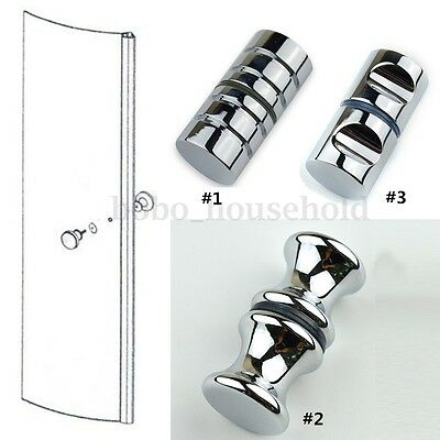 Aluminum Shower Door Handles Knob Single Groove Chrome Plated Home Bathroom