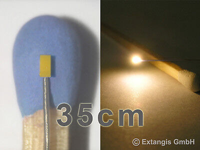 10x SMD LED 0402 SUNNY WHITE WEISS +Microlitze 35 cm XL long micro litz wire