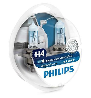 PHILIPS WhiteVision 12V 2x H4 W5W 12342WHVSM P43t-38 Headlight Lamps