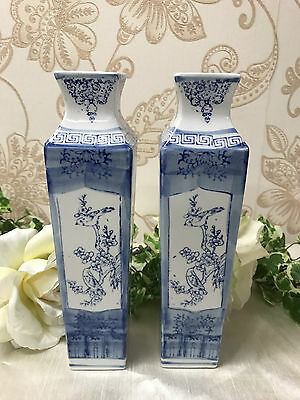 Pair of Oriental Blue and White tall Vases