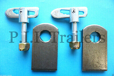 2 x Antiluce M12 x 44mm Trailer Drop Catch Tail Gate Fastener & PLATES