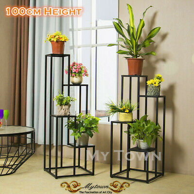 NEW LARGE METAL PLANTER POTS STAND 4 TIER SHELF GARDEN DECOR 100cm Height Black