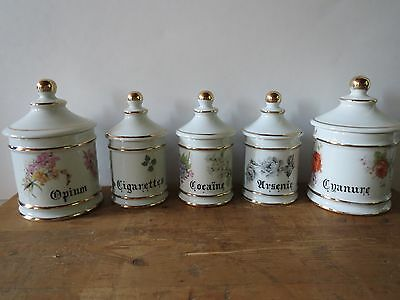 French Limoges porcelain apothecary pharmacy jars set of 5