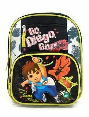 """Diego Small Toddler 12"""" Cloth Backpack Book Bag Pack - Black"""