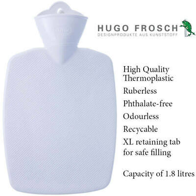 Hugo Frosch Classic Comfort Hot Water Bottle White 1.8 L