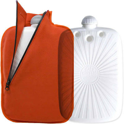 Hugo Frosch Eco Hot Water Bottle With Orange Fleece Zippered Cover 2L