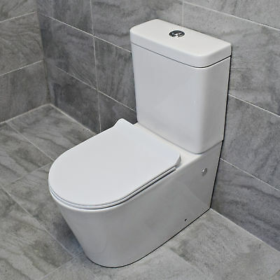 Brook Close Coupled Toilet WC Including Soft Close Seat Modern Square Style