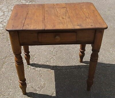 Solid Pine Rustic Victorian Kitchen Table with Drawer