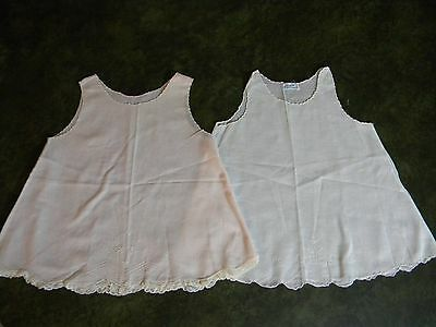 Vintage 1950s baby infant slips Lot of 2: pale pink, white