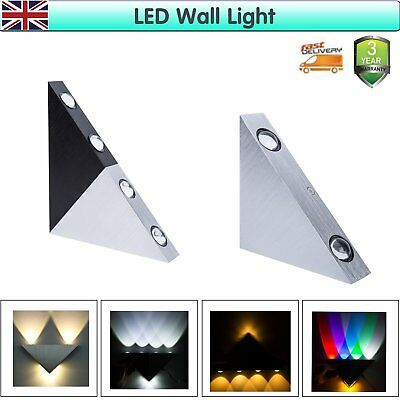 Modern Aluminum LED Home Sconce Up Down Wall Light Lamp 3W/5W Triangle UK Stock