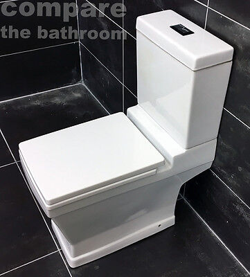 Venus Close Coupled Toilet WC Including Soft Close Seat Modern Square Style