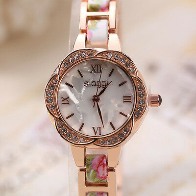 Fashion Women Ladies Diamonds Bracelet Stainless Steel Analog Quartz Wrist Watch