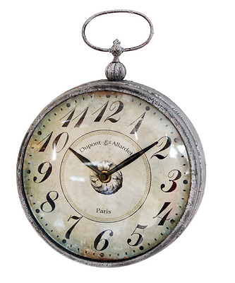 Vintage Wall Hanging Clock with Handle Pocket Watch Design for Living Room