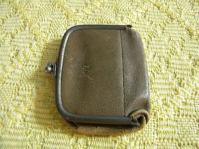 Small Antique Brown Leather Coin Purse Kisslock Metal