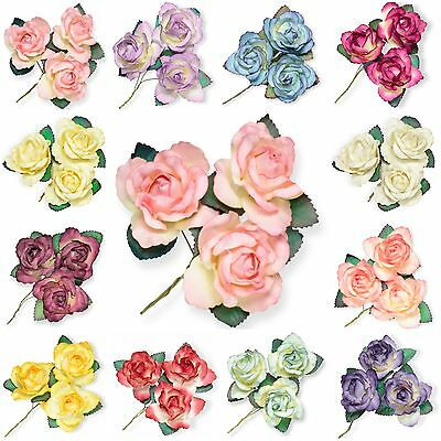 6 Beautiful Large Mulberry Paper Rose Flowers & Stem 45mm Card Making Craft 004