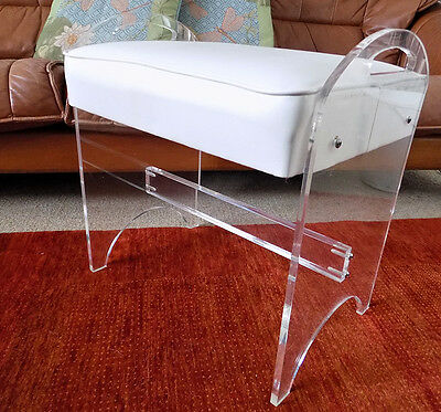 Vintage Lucite vanity bench arched handles stool Rialto NY Hollywood Regency