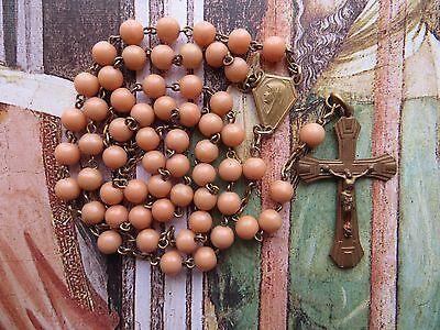 1920s Antique Sm Art Deco Gilded Faux Coral Bakelite Beads Rosary
