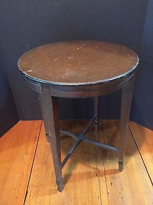 Small Antique Round Wooden Occiasional Accent End Side Table