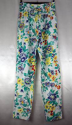 Vintage 1970's Super High Waisted Floral Cotton Summer Trousers Size 8