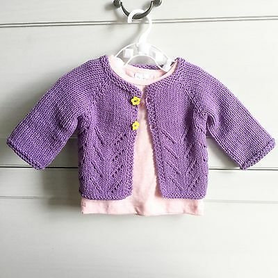 Hand Knitted Newborn 0-3 months Baby Girl Purple Lace Cardigan, Spring Cotton