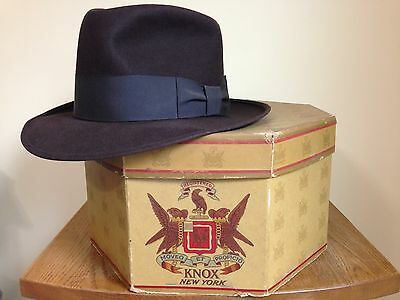 Vintage 1950s Knox Fedora Excellent Condition 7 3/8 Brown W/ Box And Insert