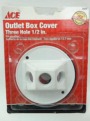 """NEW Ace 36265 White Round Three Hole 1/2"""" All Weather Outlet Box Cover"""