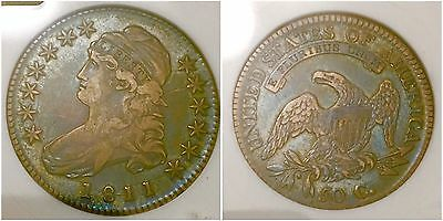 Blueberry Toned 1811 Capped Bust Half Dollar ANACS EF40 Variety O-112