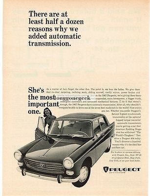 1966 Peugeot 404 Reasons Why We Added Automatic transmission Vtg Print Ad
