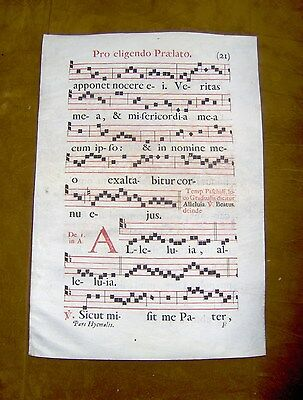 Antique Vellum Illuminated Latin Sheet Music Double Sided Panel No Reserve !!