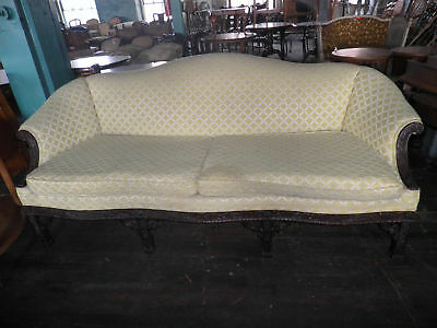 Carved Frame Couch, Sofa, Oversized Couch, Yellow Pattern Upholstered Couch 237A