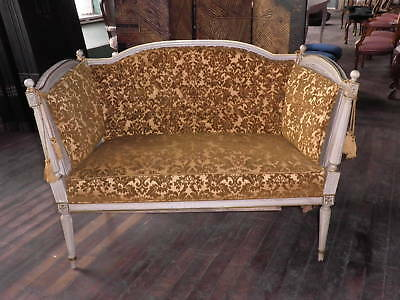 Elegant Cane Settee, Hand Rubbed Antique Ivory French Settee, Loveseat,Bench 33A