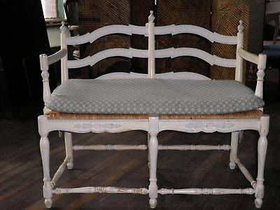 Handpainted and Carved Country French Bench, Carved Loveseat, Bench, Settee 35A