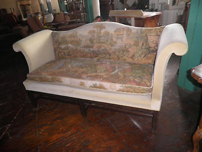 Tapestry Scene Sofa w Chippendale Arms And Fretwork,French Scene Sofa,Couch 236A