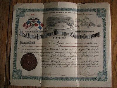 1905 - West India Petroleum Mining & Export Co. Stock Certificate, St.Louis Mo.