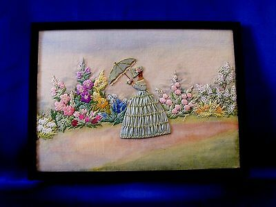 Beautiful Vintage Hand Embroidered Panel Picture Crinoline Lady Cottage Garden