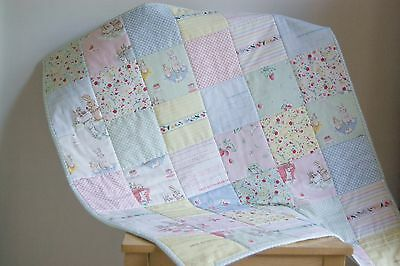Handmade Baby Quilt - Play Mat - Buggy Blanket - Vintage - Bunnies And Cream