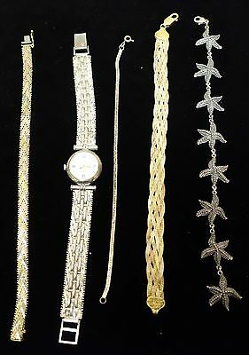 Antique Lot of Sterling Silver .925 Bracelets & Watch 75Grams