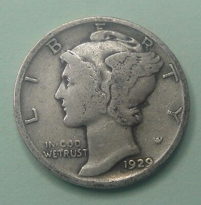 1929 P 10C Mercury Dime  90 % Silver US Coin  ME199 Old (TUCK)