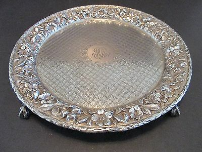 "S. Kirk & Sons Sterling Silver Repousse 8"" Tray Claw Footed Salver Floral Rim"