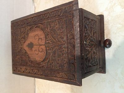 Vintage Indian Carved Detailed Wood Cigarette Dispenser Case Box