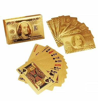 24K Gold Plated Playing Cards Full Poker Deck Pub Game Casino Collection Gift