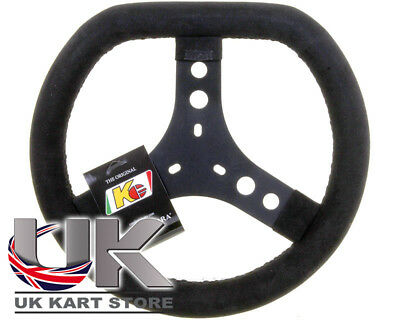 KG Black Cadet Suede Steering Wheel Flat Top 300mm UK KART STORE