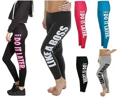 Ladies Stretchy Like a Boss Just Do it Later Print Leggings Jogging Gym Bottoms