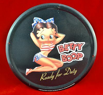 "Betty Boop ""Ready For Duty"" 12"" Round Embossed Tin Metal Wall Sign Used"