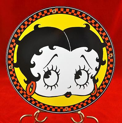 "Rare Retro Vintage Betty Boop 12"" Round Porcelain Enamel Metal Wall Sign"
